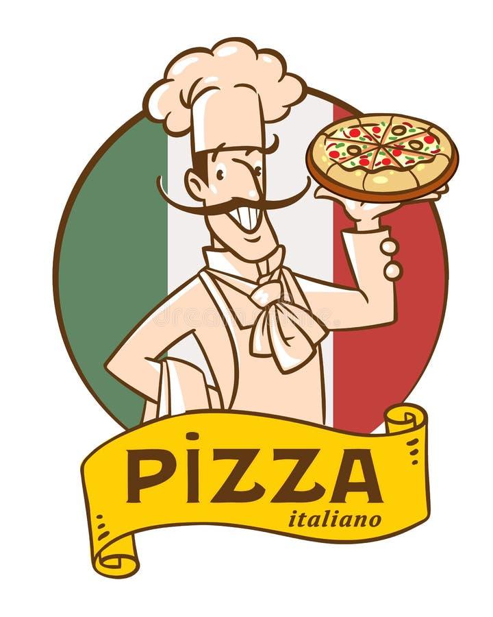Grappige Italiaanse chef-kok met pizza Het ontwerp van het embleem stock illustratie