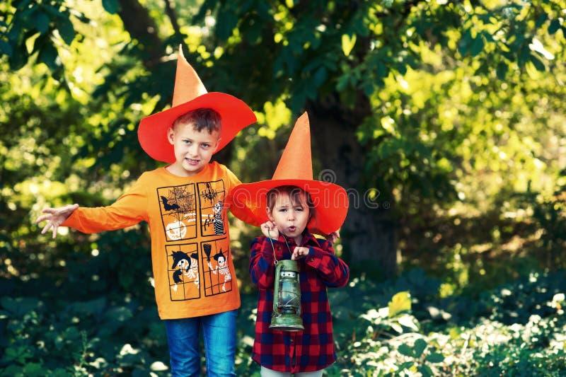 Grappige jonge geitjes in hoeden voor Halloween in openlucht stock foto's