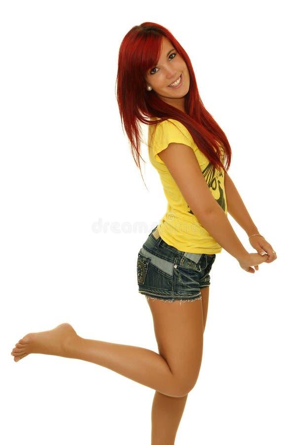 Grappige jonge vrouw stock foto