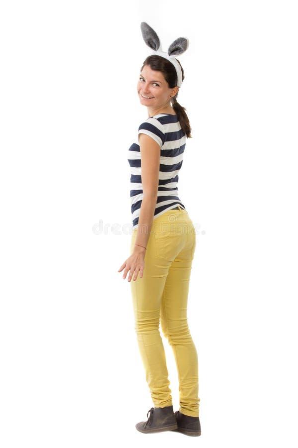 Download Grappige Jonge Vrouw Met Konijnoren Stock Afbeelding - Afbeelding bestaande uit grappig, jong: 54079439