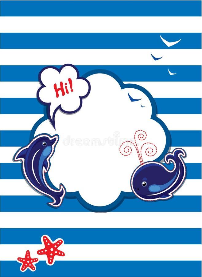 Grappige Kaart met dolfijn, walvis en leeg kader voor vector illustratie