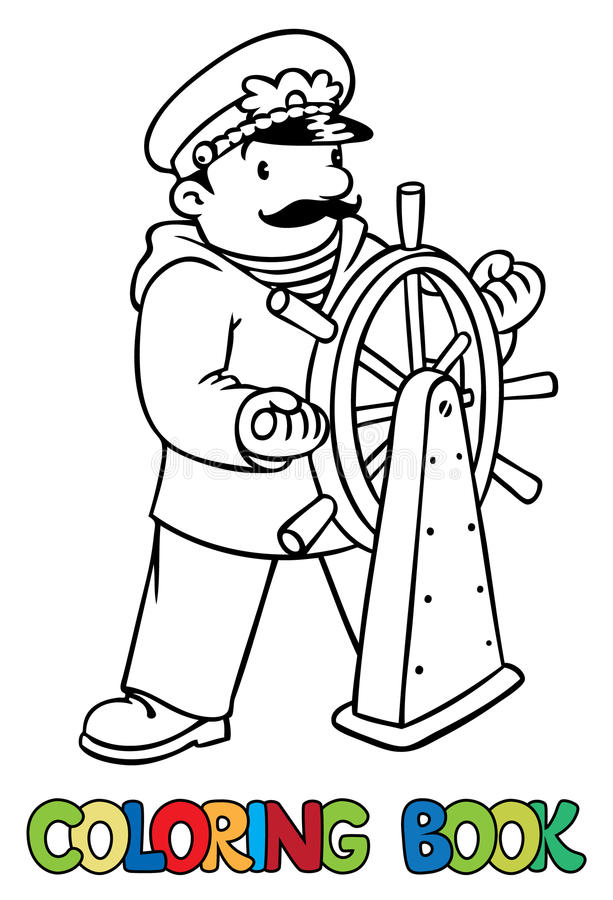 Grappige kapitein of yachtman Kleurend boek royalty-vrije illustratie