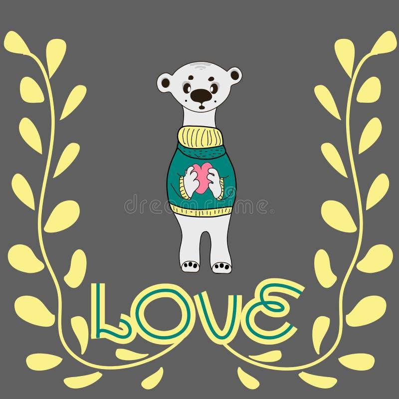 Grappige karakter teddy holding in de poten van een groot hart Het concept de Dag van Valentine ` s royalty-vrije illustratie
