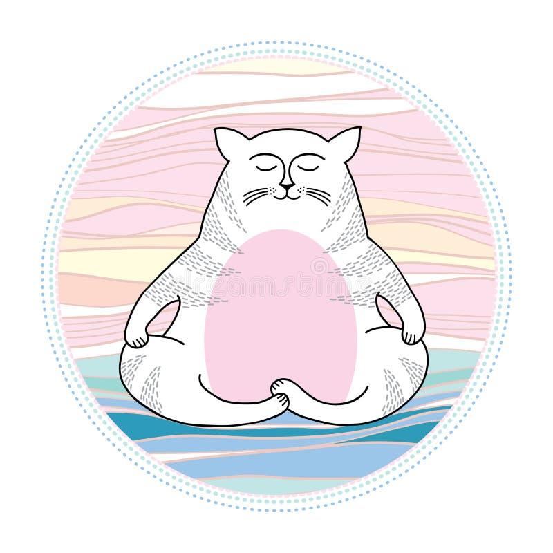 Grappige kat in meditatie Reeks grappige katten royalty-vrije illustratie