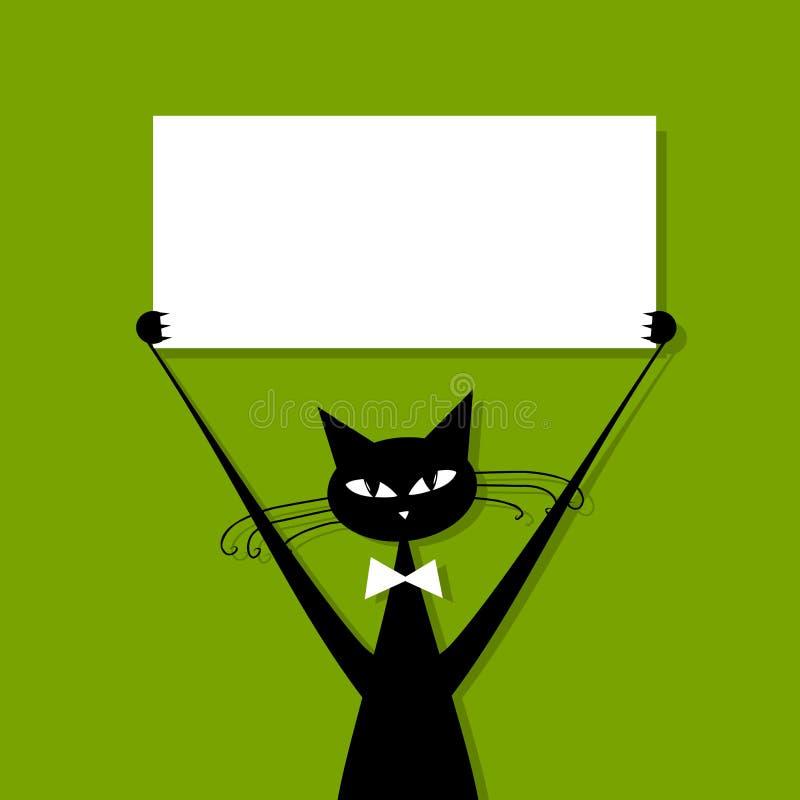 Grappige kat met adreskaartje, plaats voor uw tekst royalty-vrije illustratie