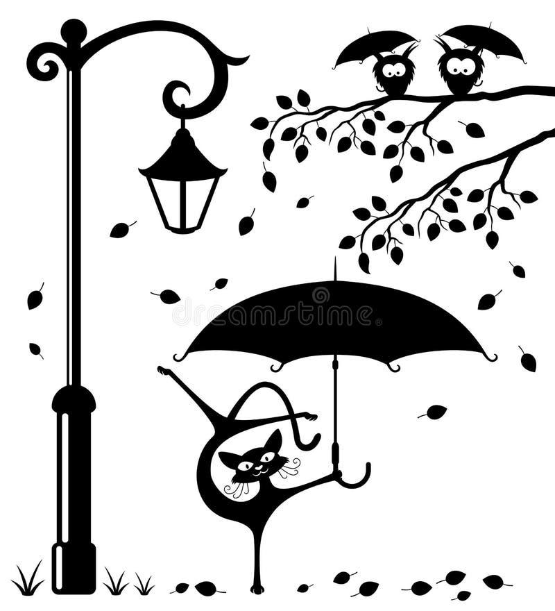 Grappige kat met een paraplu stock illustratie