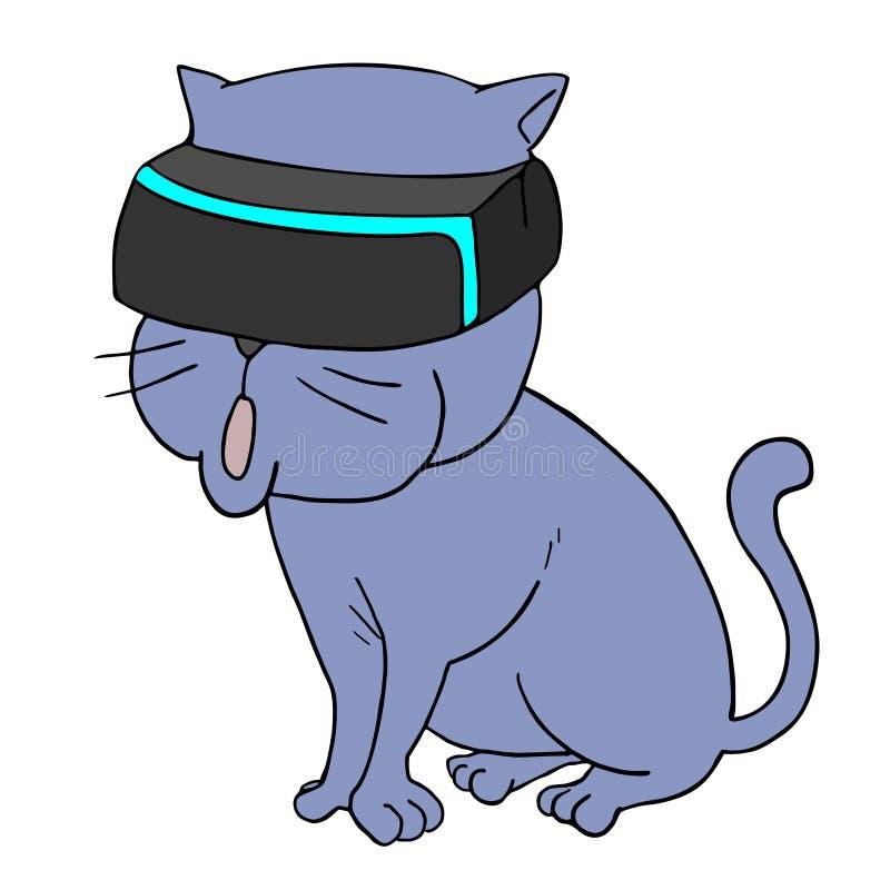 Grappige kat met virtuele werkelijkheidsglazen vector illustratie