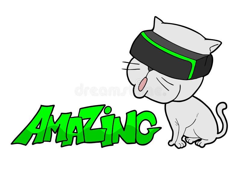 Grappige kat met virtuele werkelijkheidsglazen royalty-vrije illustratie
