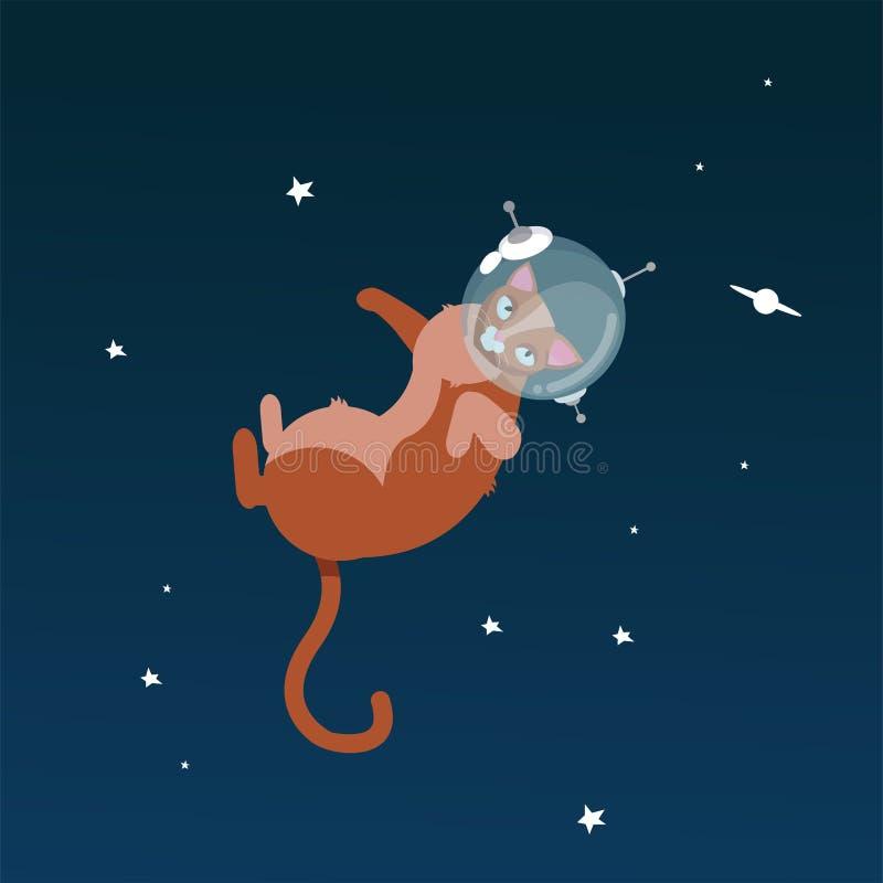 Grappige kattenastronauten in ruimte die op sterrige hemelachtergrond wordt geïsoleerd, vectorillustratie Kat als kosmonaut, grap stock illustratie