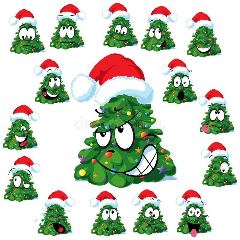 Grappige Kerstbomen stock illustratie