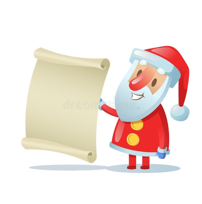 Grappige Kerstman die een lege rol houden Vlakke vectorillustratie Geïsoleerdj op witte achtergrond royalty-vrije illustratie