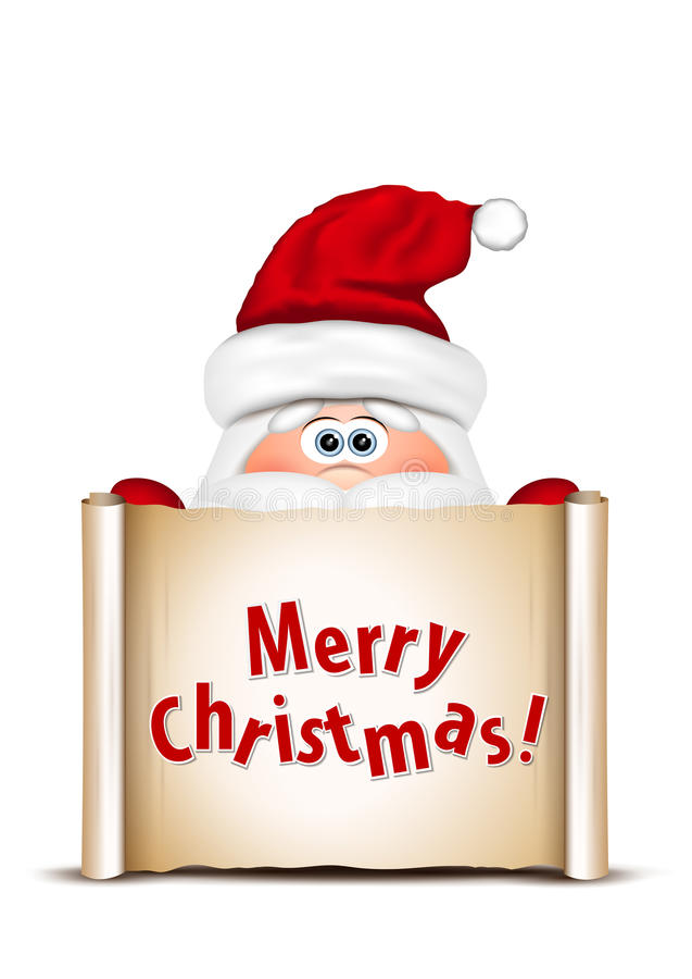 Grappige Kerstman die uit van de onderste rand gluren van stock illustratie