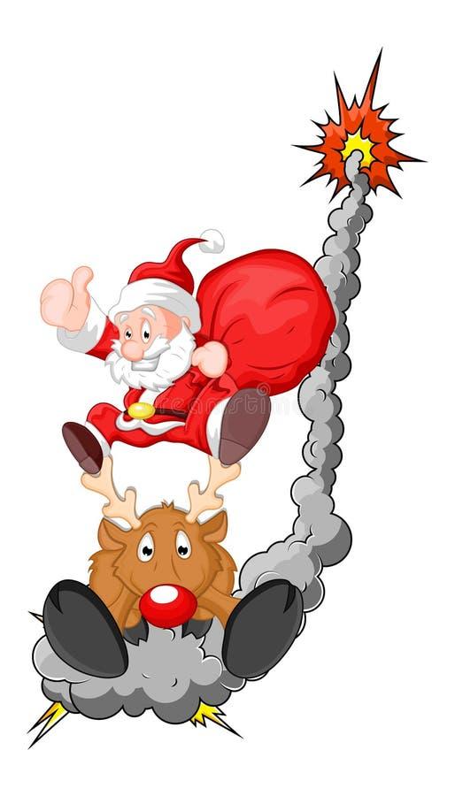 Grappige Kerstman met Rendier - Kerstmis Vectorillustratie stock illustratie