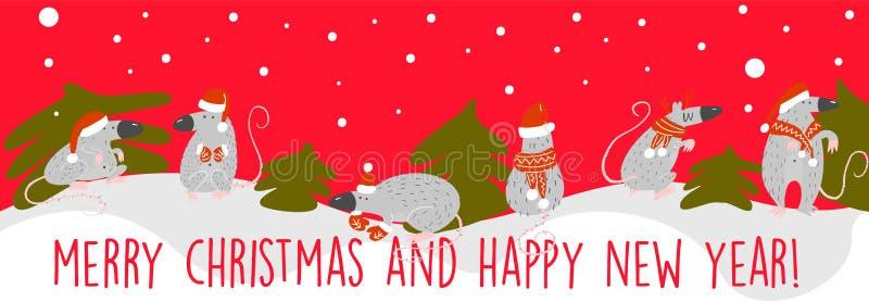 Grappige Kerstmisbanner met ratten in Kerstmishoeden Symbool van het jaar van 2020 royalty-vrije illustratie