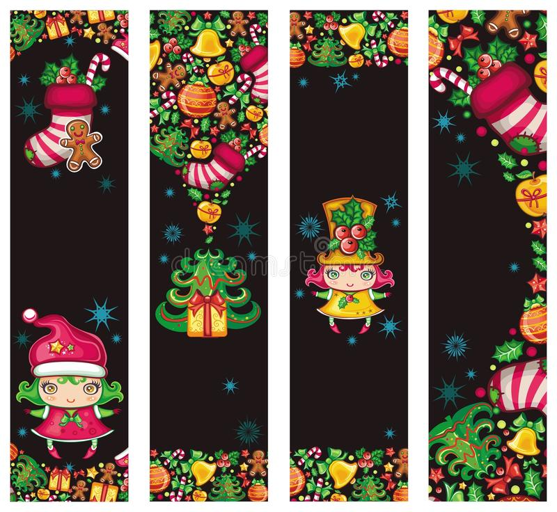 Grappige Kerstmisbanners stock illustratie