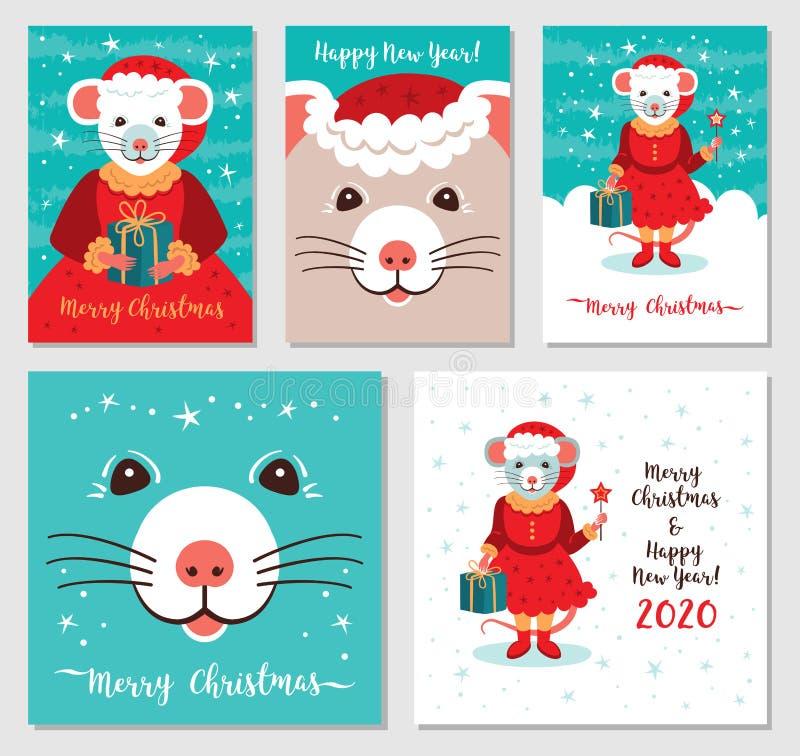 Grappige Kerstmisratten, Vrolijk Kerstmis en Nieuwjaar 2020 van Groetkaarten Leuke rat in de Kerstkaarten van de Kerstmanhoed meg vector illustratie