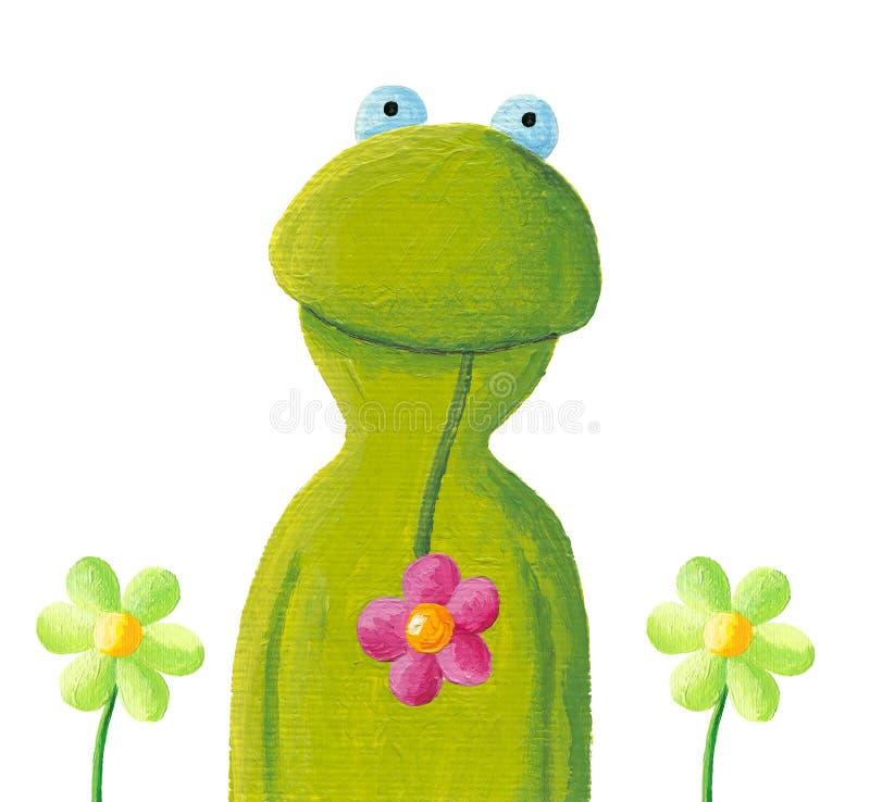 Grappige kikker in de bloemen stock illustratie