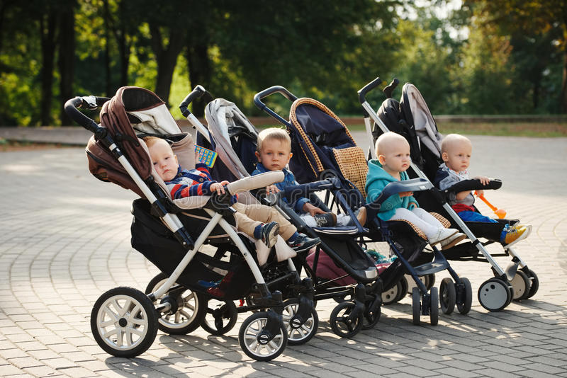 Grappige kinderen die in wandelwagens in park zitten royalty-vrije stock afbeelding