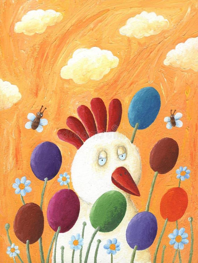 Grappige kip en Paaseieren vector illustratie
