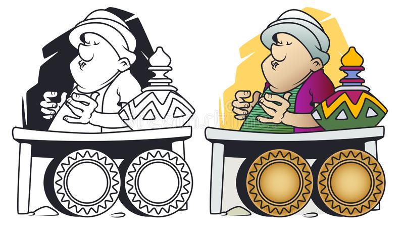 Grappige kleine mensen De handelaar van het oosten Slaapverkoper vector illustratie