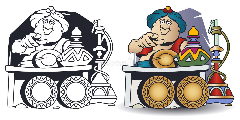 Grappige kleine mensen De handelaar van het oosten Verkoper die vinger tonen royalty-vrije illustratie