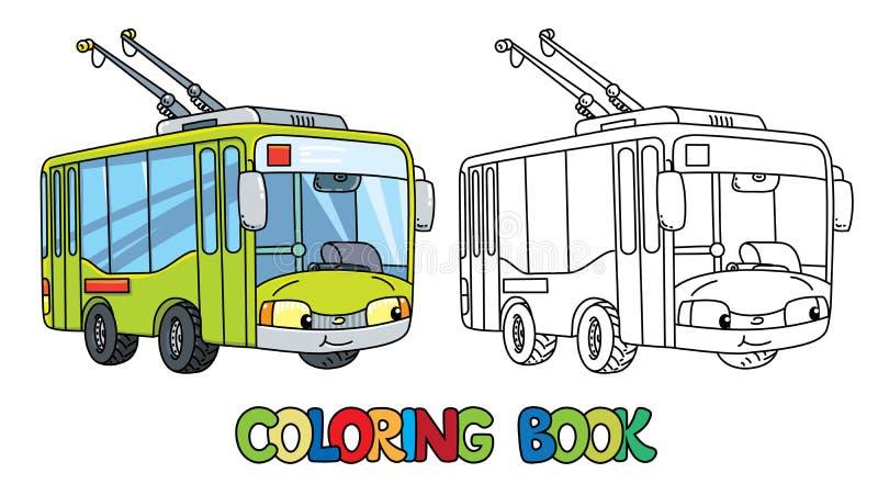 Grappige kleine Trolleybus met ogen Kleurend boek vector illustratie