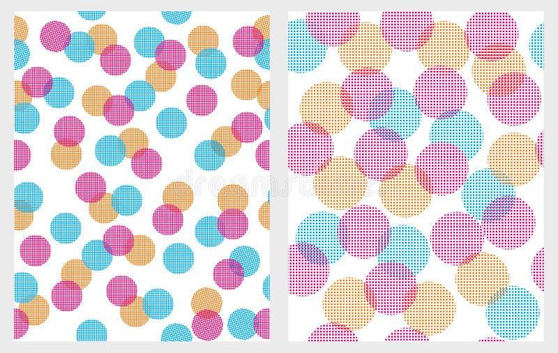 Grappige Kleurrijke Abstracte Lichten Vectorpatronen Witte achtergronden stock illustratie