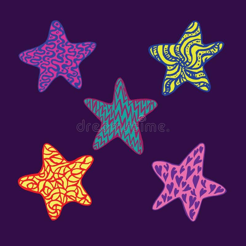 Grappige kleurrijke sterreninzameling, hand getrokken die krabbel, schets in naïve, pop-artstijl, kleurenillustratie op dark wor vector illustratie