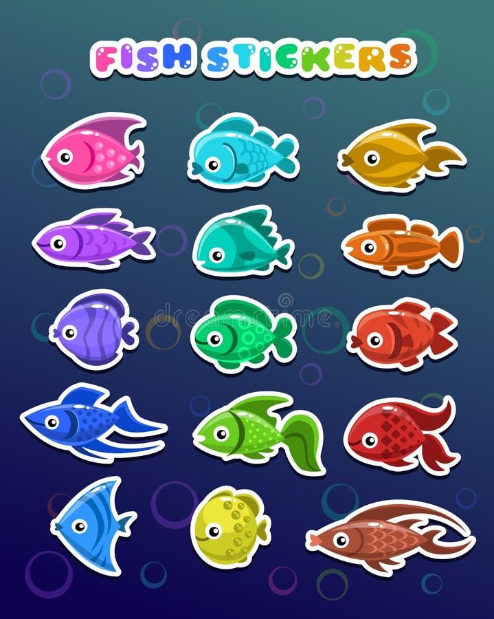 Grappige kleurrijke vissenstickers stock illustratie