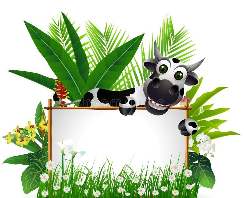 Grappige koe met leeg teken stock illustratie