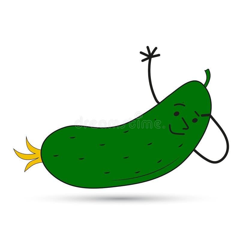 Grappige komkommer met een gezicht Vector beeld vector illustratie