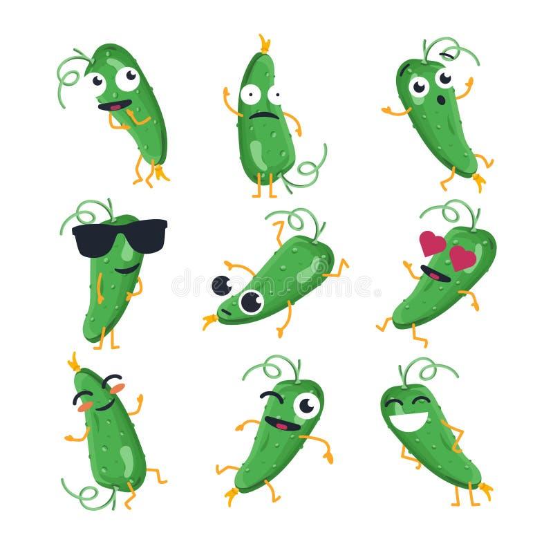 Grappige komkommer - vector geïsoleerd beeldverhaal emoticons stock illustratie