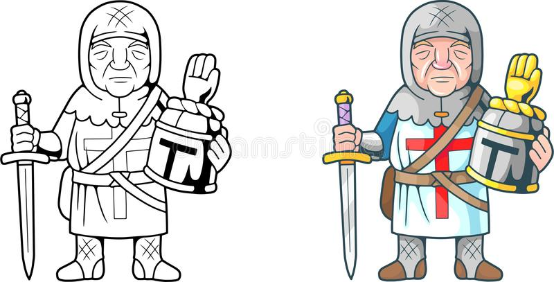 Grappige kruisvaarder, kleurend boek royalty-vrije illustratie