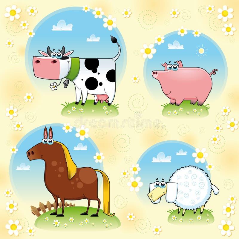 Grappige landbouwbedrijfdieren. stock illustratie