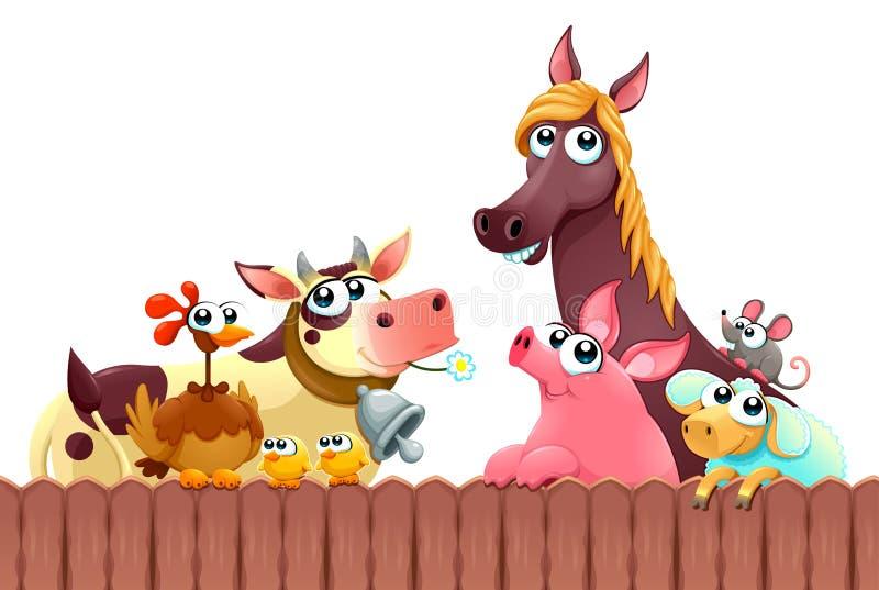 Grappige landbouwbedrijfdieren die dichtbij de omheining glimlachen vector illustratie