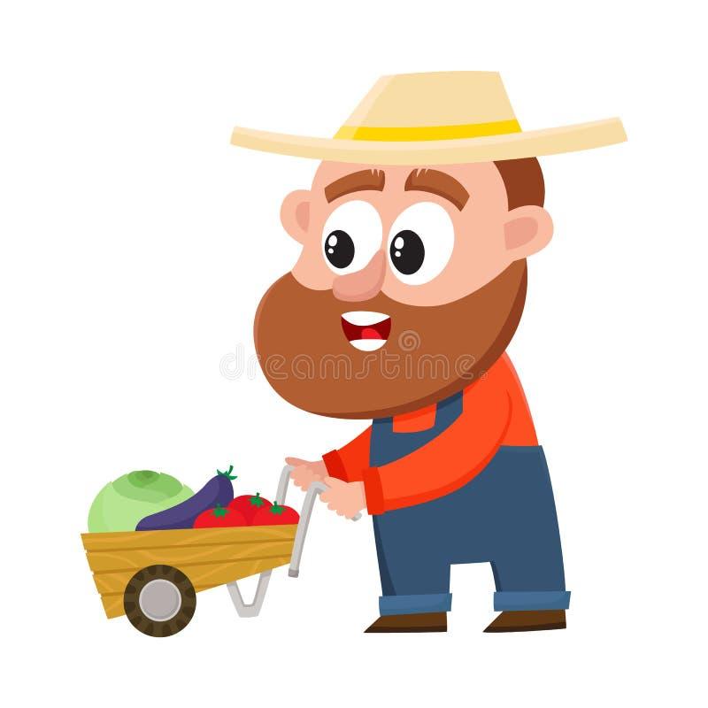 Grappige landbouwer, de duwende kruiwagen van het tuinmankarakter, stootkar met groenten royalty-vrije illustratie