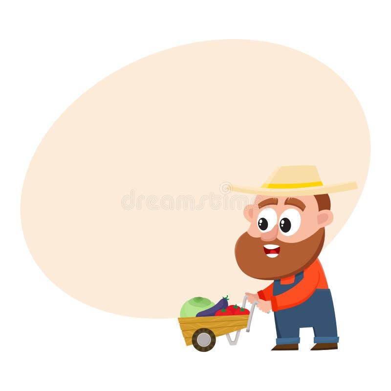 Grappige landbouwer, de duwende kruiwagen van het tuinmankarakter, stootkar met groenten vector illustratie