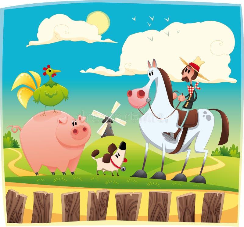 Grappige landbouwer met dieren vector illustratie