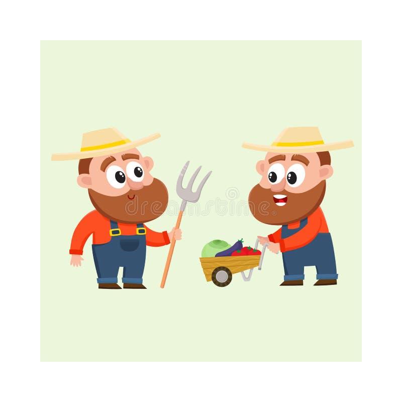 Grappige landbouwers die groenten oogsten, houdend hooivork, duwend stootkar met groenten vector illustratie