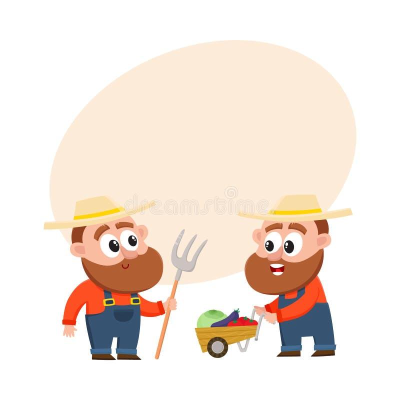 Grappige landbouwers die groenten oogsten, houdend hooivork, duwend stootkar met groenten stock illustratie