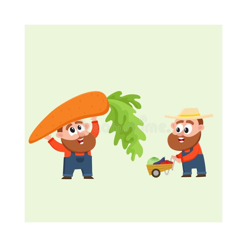 Grappige landbouwers die groenten oogsten, houdend reuzewortel, die stootkar, kruiwagen duwen royalty-vrije illustratie