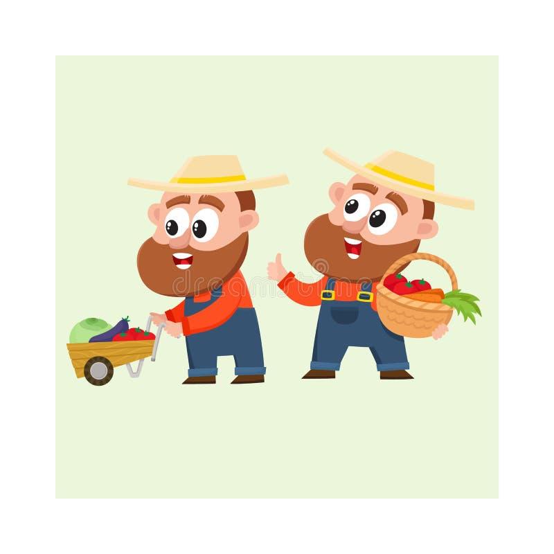 Grappige landbouwers die in overall groenten oogsten, die stootkar duwen, die mand houden vector illustratie