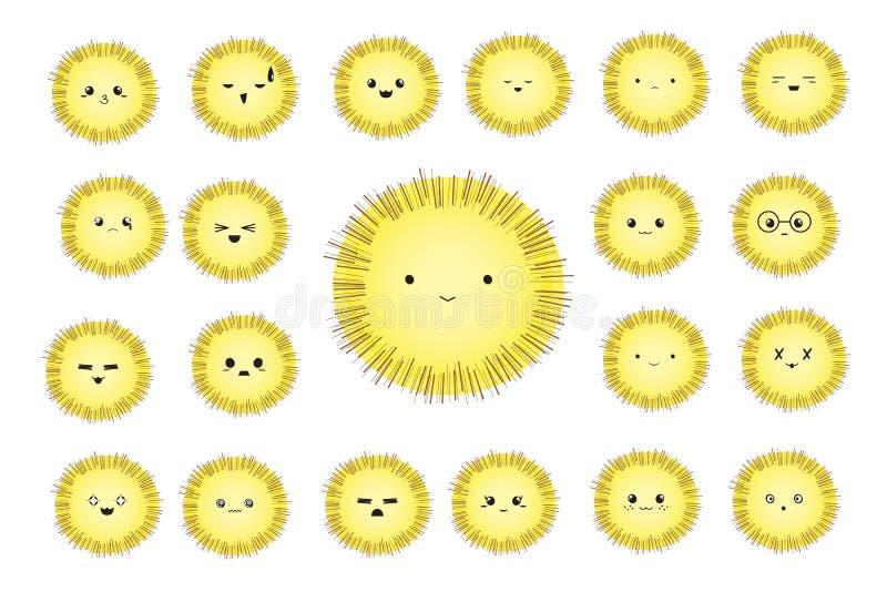 Grappige leuke beeldverhaal grappige karakters met verschillende emoties Ronde pluizige vrolijke smileys Reeks pictogrammen royalty-vrije illustratie