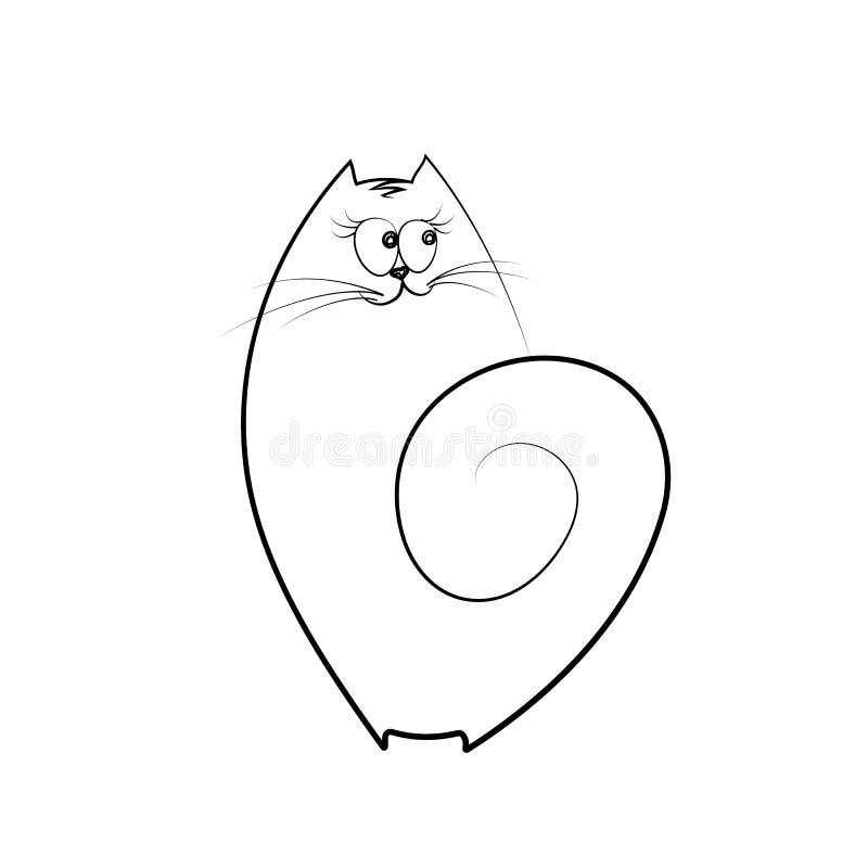 Grappige leuke emotionele katten Lineaire creatieve tekening van een huisdier De vreemde grappige leuke kat, katje isoleert Het o stock illustratie