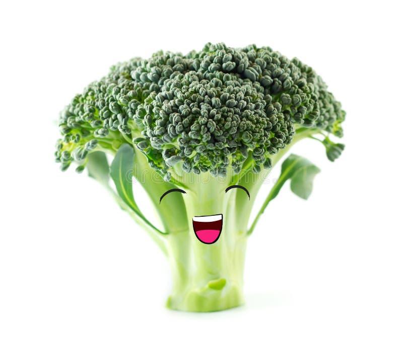 Grappige leuke groentenglimlachen Gelukkige broccoli stock foto's