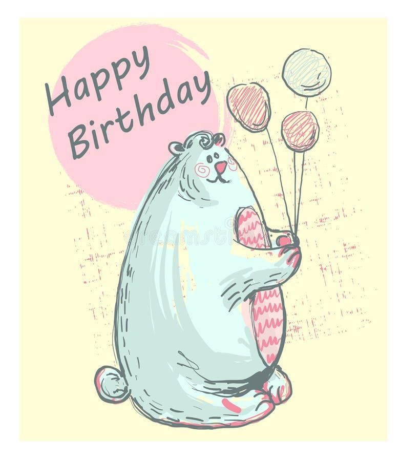 Grappige leuke ijsbeer met GELUKKIGE VERJAARDAG, roze wangen die ballons voor drukken, kaarten, uitnodigingen, t-shirtontwerp hou stock illustratie