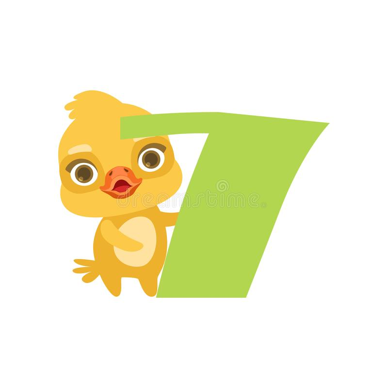 Grappige leuke kuikenvogel en nummer zeven, verjaardagsverjaardag, leren om de vectorillustratie van het conceptenbeeldverhaal te royalty-vrije illustratie