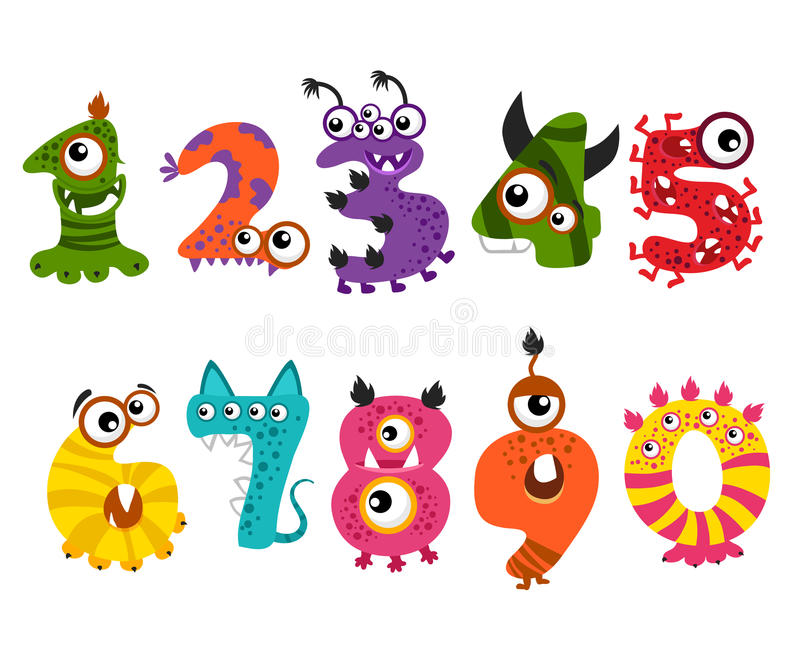 Grappige leuke monsteraantallen voor Halloween-de vector van de partijgebeurtenis royalty-vrije illustratie