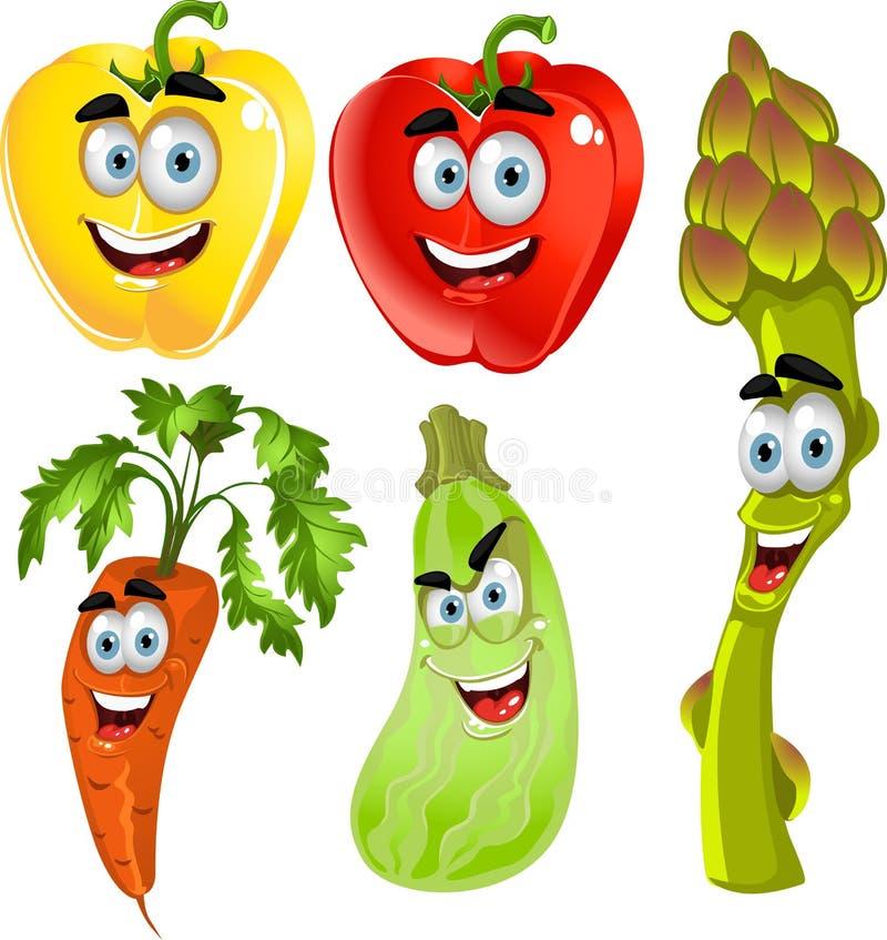 Grappige leuke peper, asperge, wortelen, courgette royalty-vrije illustratie