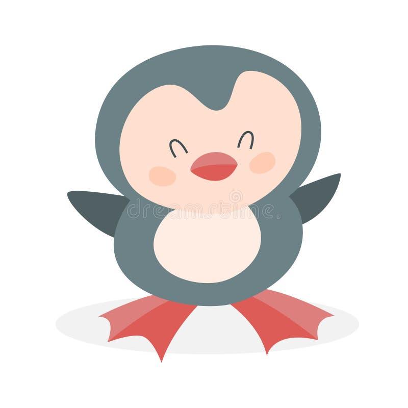 Grappige leuke pinguïn Karakter met wit en zwart bont royalty-vrije illustratie